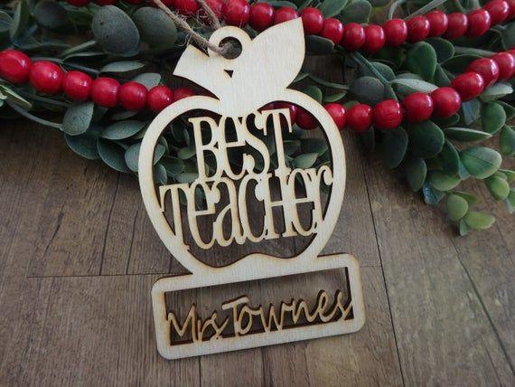 Teacher Ornaments , personalized apple ornaments , engraved teacher gifts , Christmas ornaments for teachers , Best Teacher - cursive