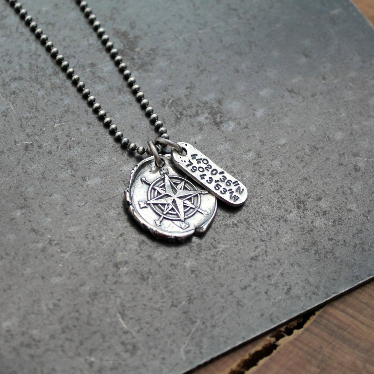 Personalized Coordinates Compass Necklace Custom Location Etsy In 2020 Compass Necklace Compass Necklace Silver Coordinates Necklace Silver