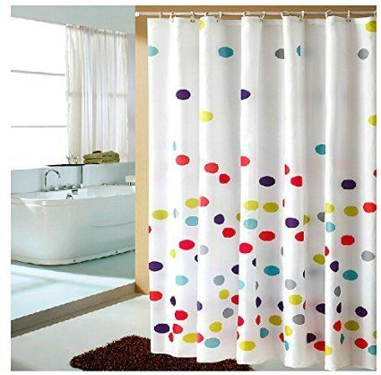 Eforgift Polka Dots Pattern Fabric Shower Curtain Waterproof No More Mildews Bathroom Curtains With Free Hooks Multi Color