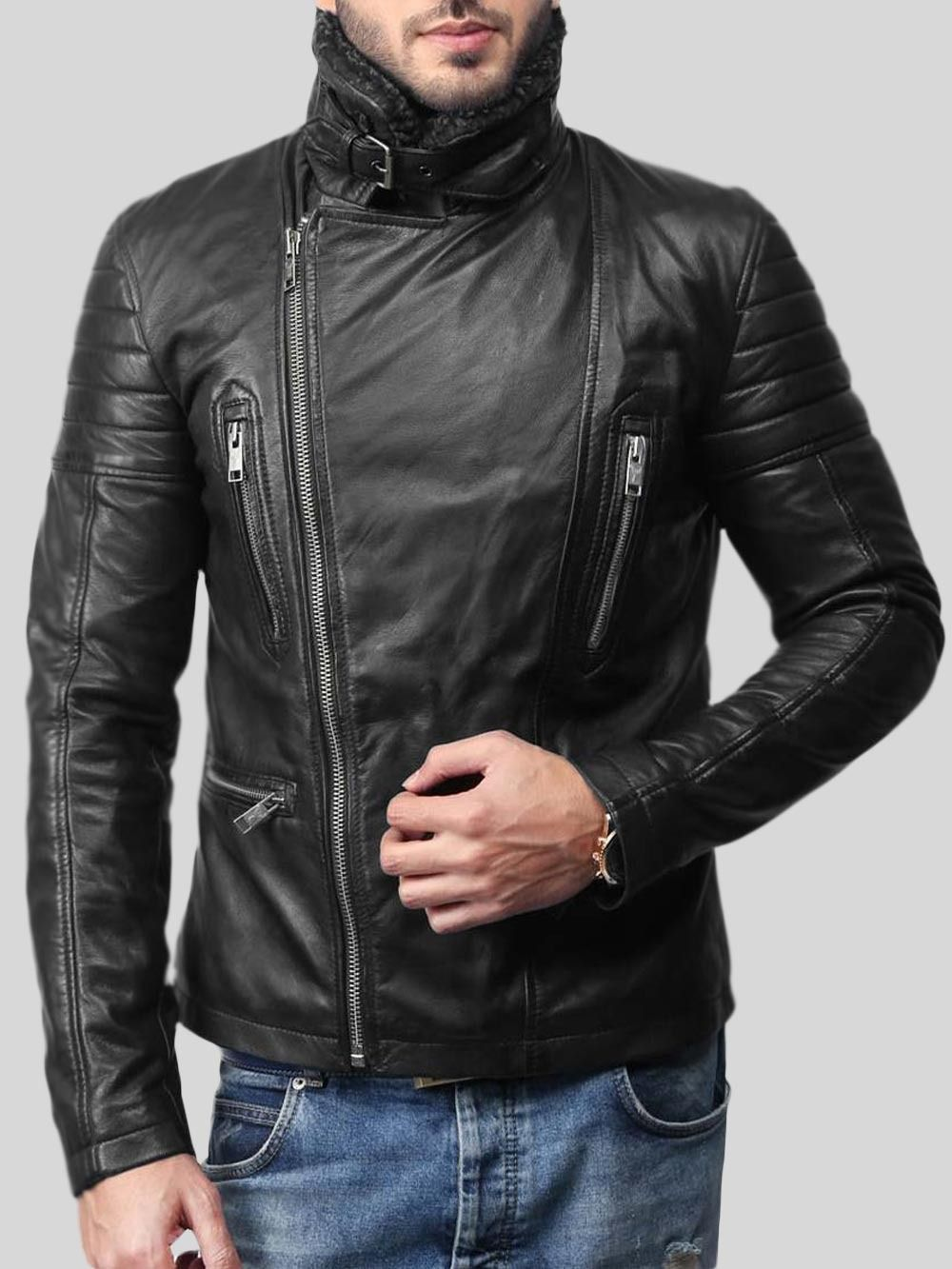 Soft And Solid Asymmetrical Zipper Closure Pure Leather Jacket For Men Leather Jacket Men Real Leather Jacket Leather Jacket [ 1333 x 1000 Pixel ]