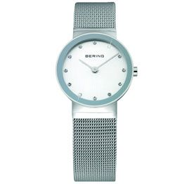 a6fdd11bc6810 Bering Ladies Stainless Steel Silver Dial Swarovski Crystal  Sapphire Crystal  Glass Mirror Border Mesh Band