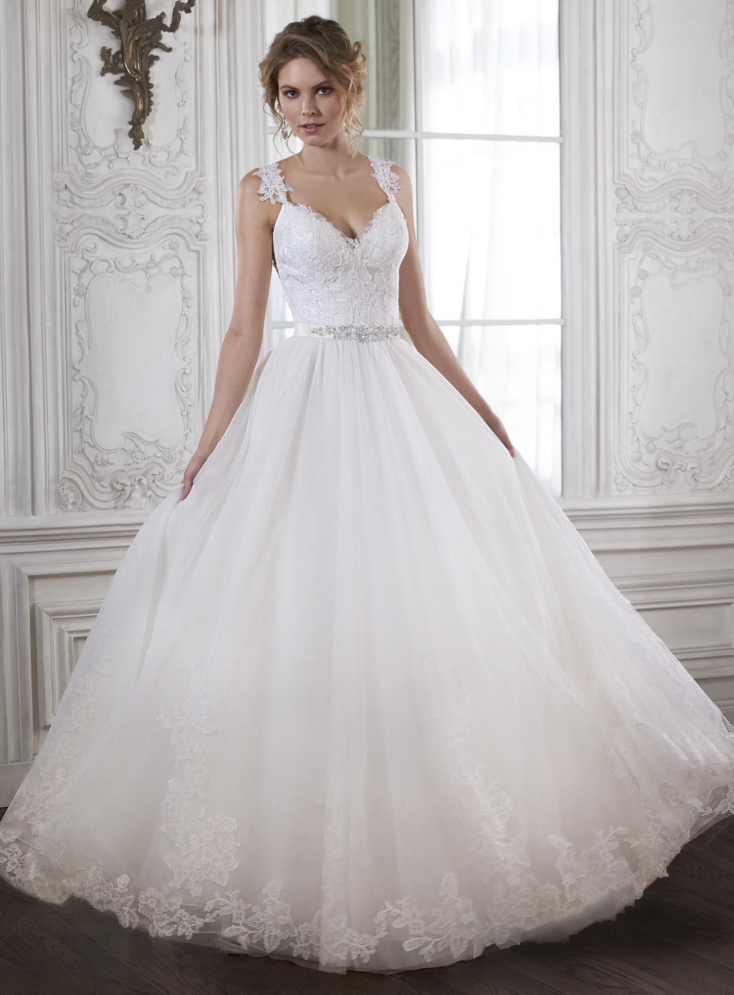 Wedding dresses with beading  ElegantCharming ALine VNeck Natural Waist Tulle Wedding Dress