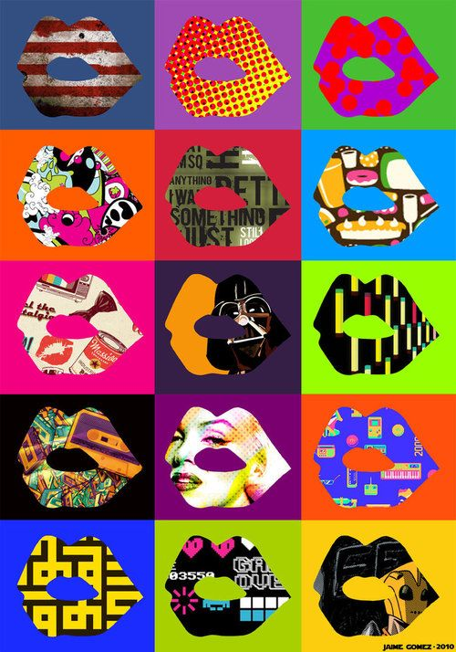 Pop art lips wallpaper