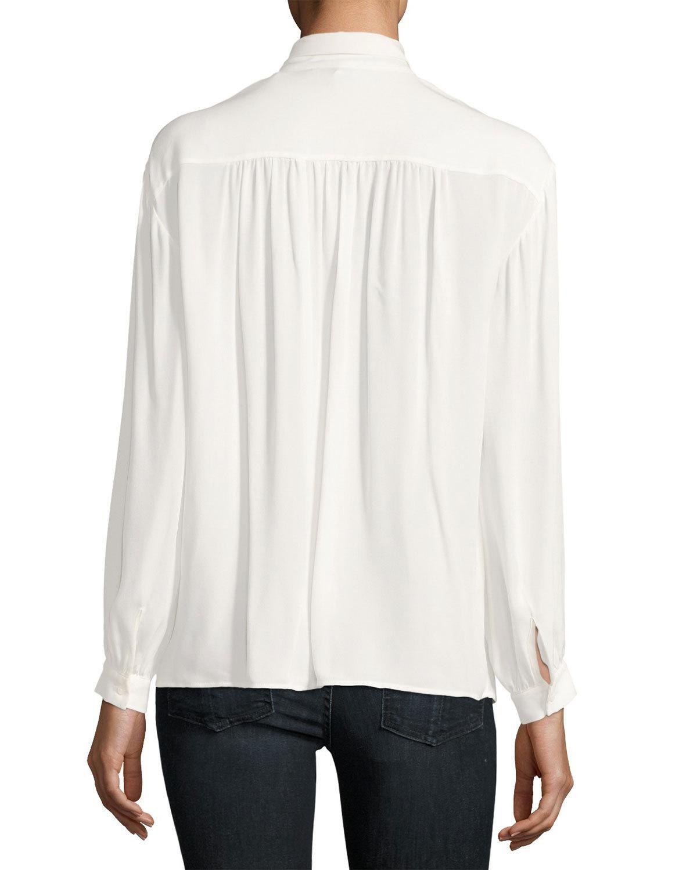 , Esti Long-Sleeve Silk Top, White, Anja Rubik Blog, Anja Rubik Blog