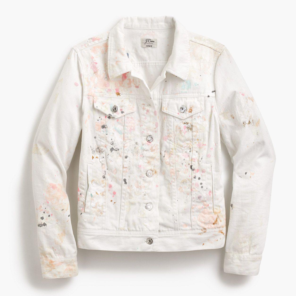 J Crew Womens Limited Edition Denim Jacket In Paint Splatter Size Denim Jacket Denim Women Outerwear Women [ 1254 x 1254 Pixel ]