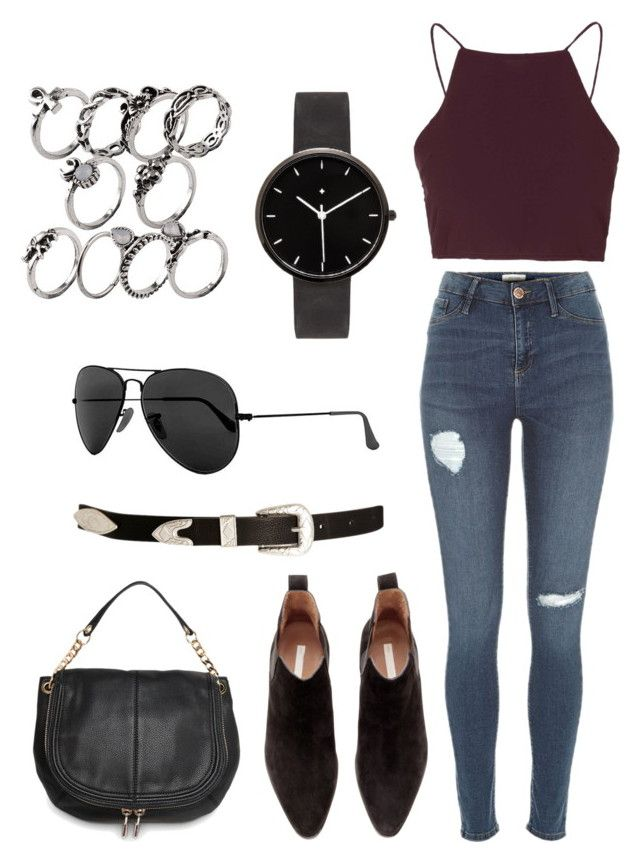 """""""Untitled #34"""" by oliviamfoster ❤ liked on Polyvore featuring Topshop, River Island, H&M, MANGO, ASOS, Ray-Ban and I Love Ugly"""