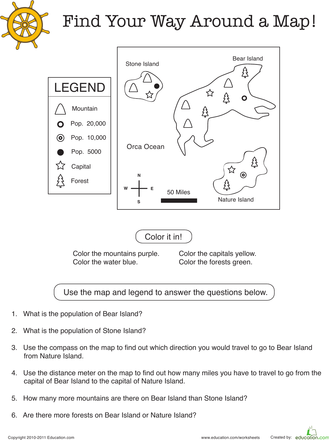 Find Your Way Around a Map | Map worksheets, Geography ...