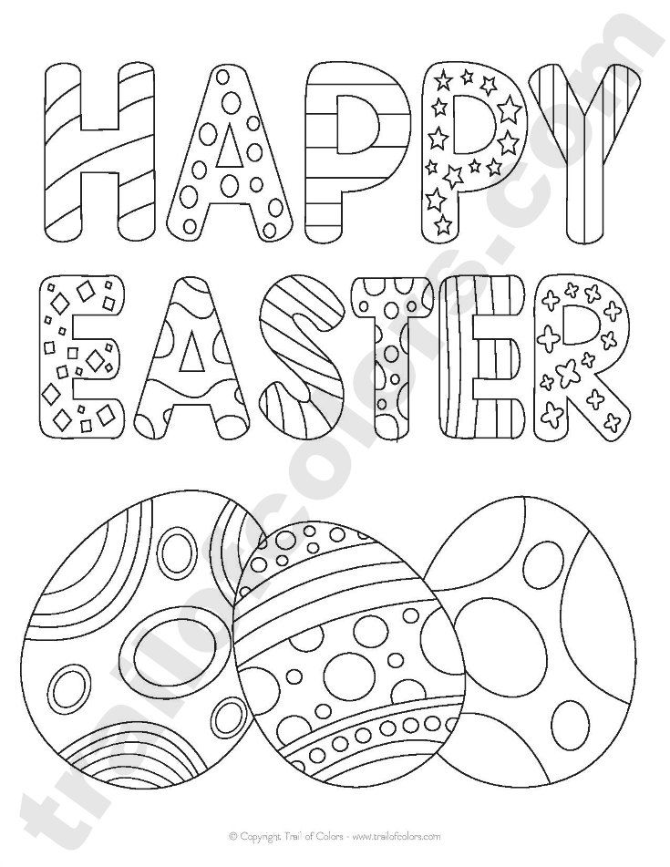 Happy Easter Tracing Coloring Page | Easter colouring ...