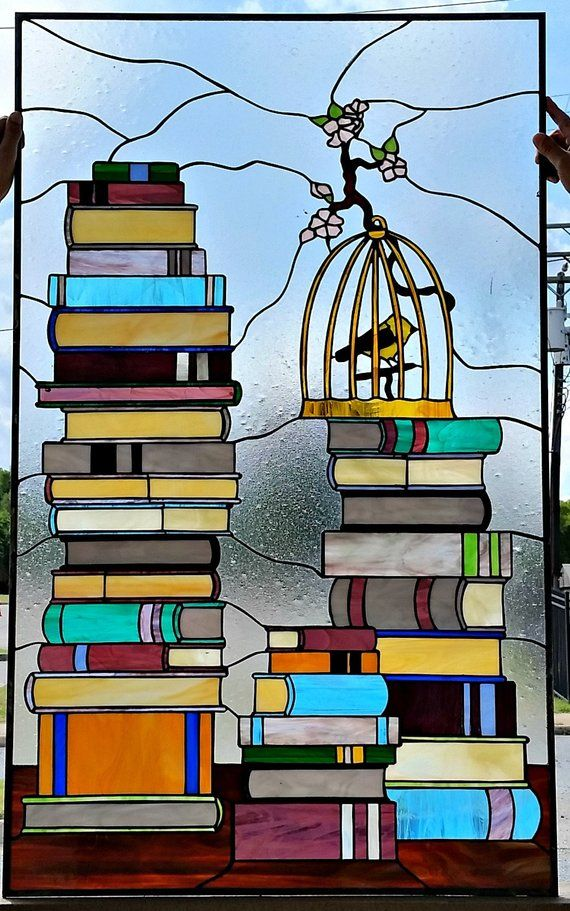 Birdcage and Books-Stained Glass Window (W-261)   Stained Glass ...