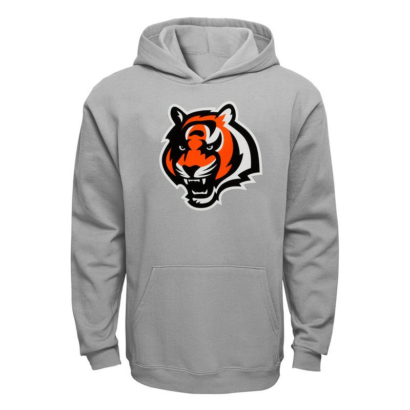 Hot Cincinnati Bengals Youth Current Logo Pullover Hoodie Gray  for cheap