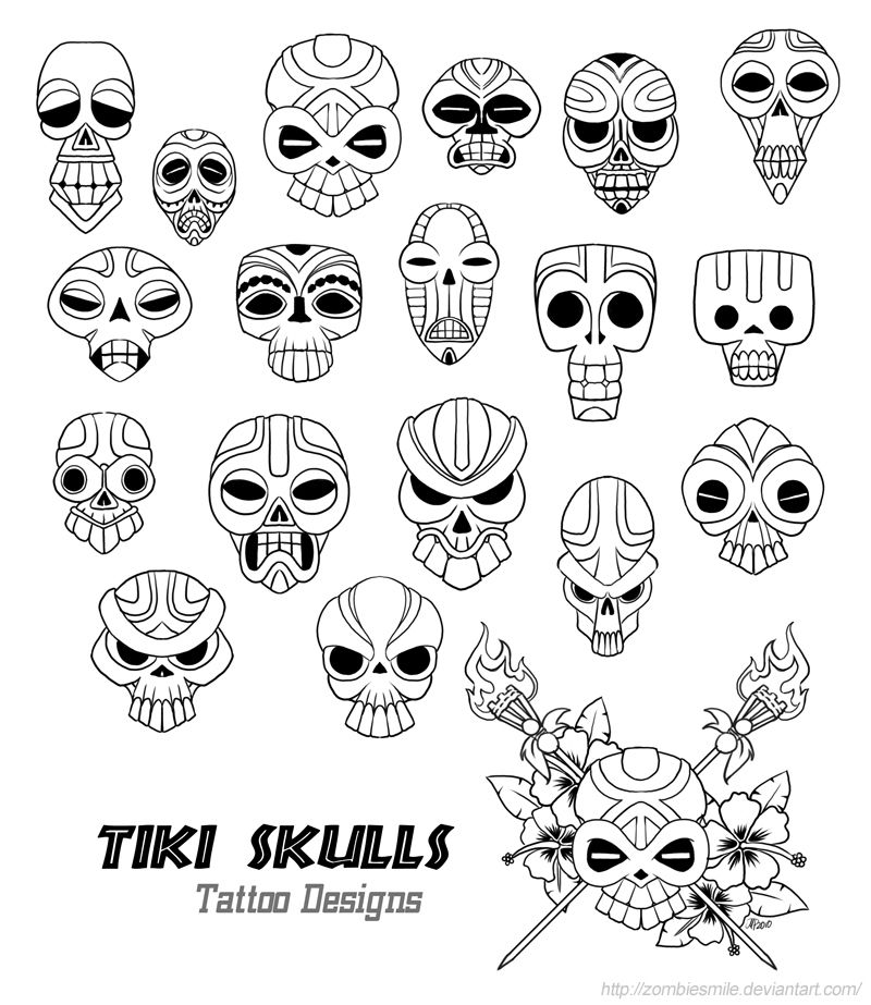 Tiki skulls. Might color these in and print them out on my