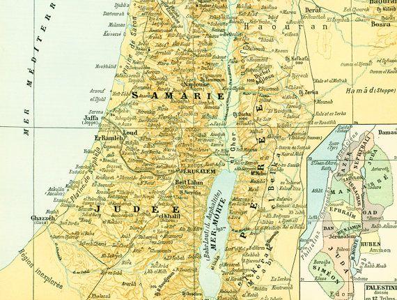 1897 Antique Map of Palestine Jerusalem Israel Holy Land Larousse