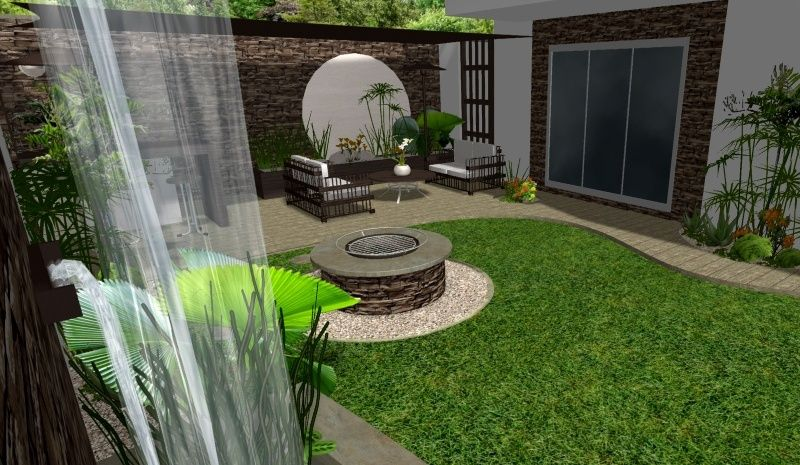 Modelos de jardines de lujo jardin virtual con fuente for Ideas decorativas para patios