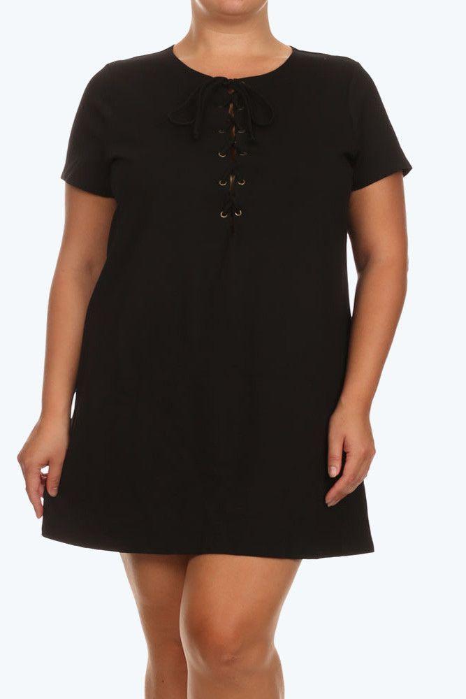 Plus Size Sexy Lace Neckline Black Tunic Dress – PLUSSIZEFIX