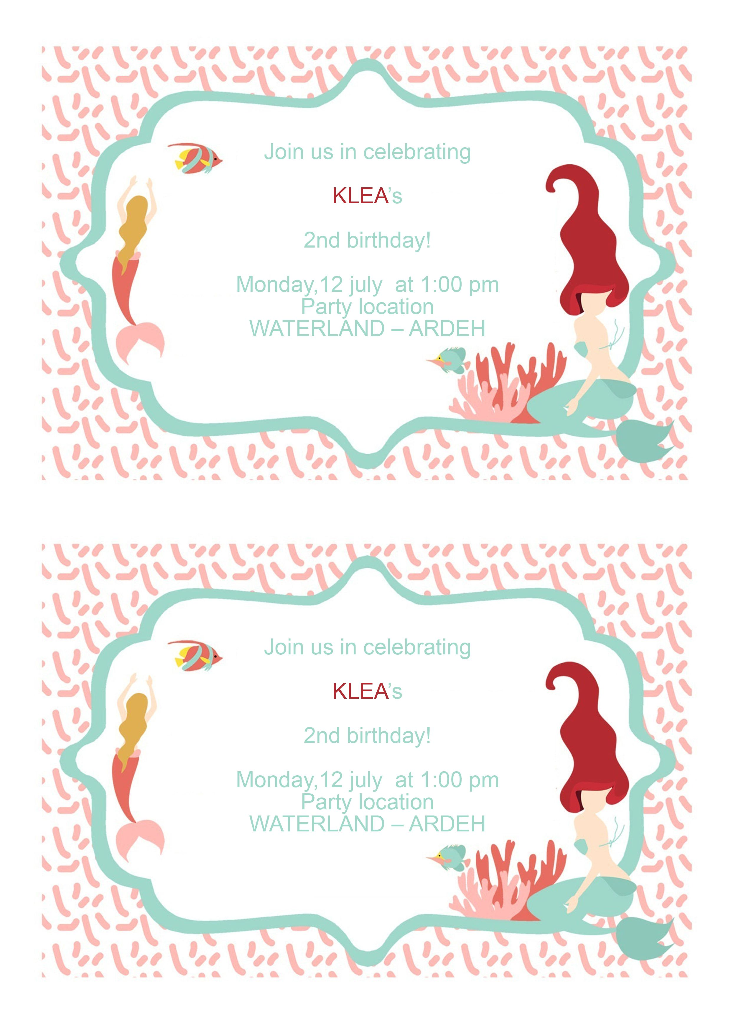 underthesea sea shell mermaids birthday party printable
