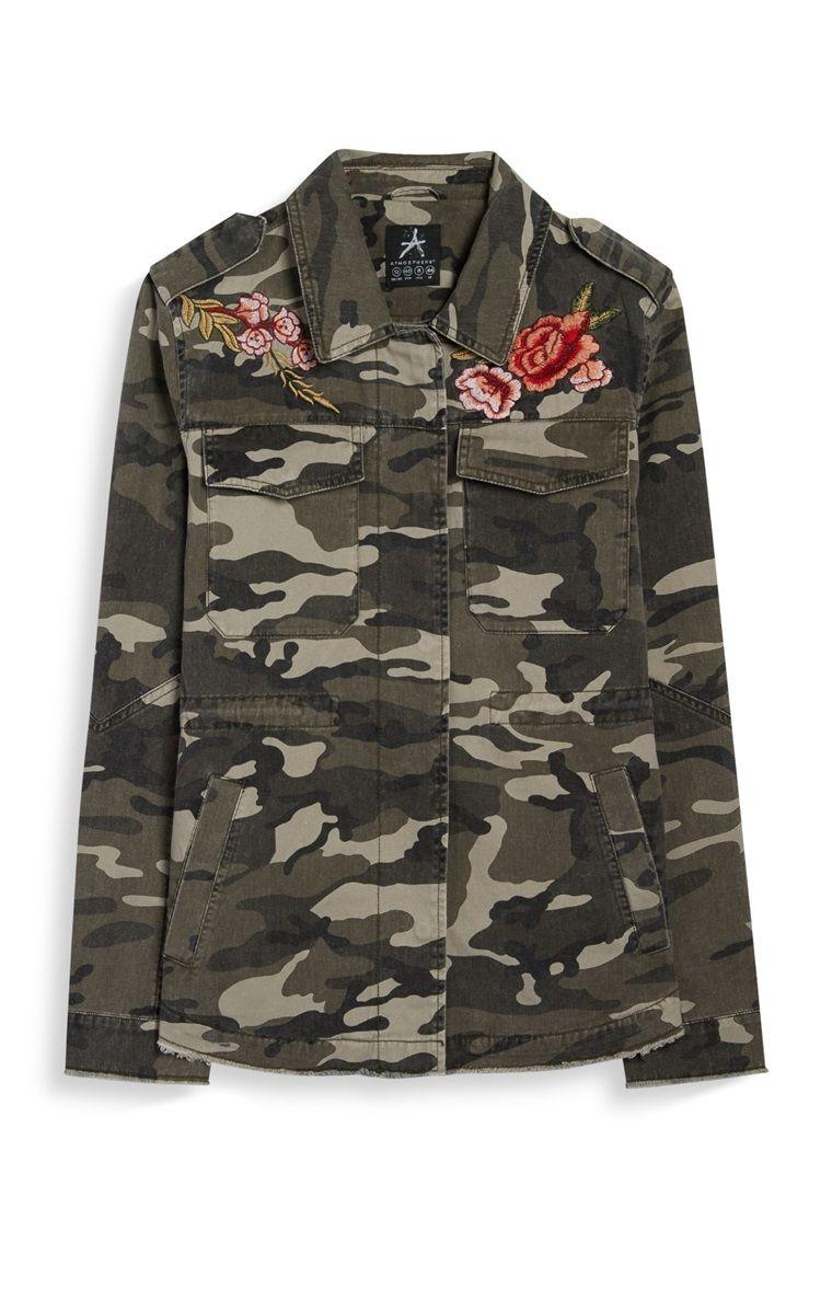 shopping official site free shipping Primark - Veste camouflage à badges roses | mode | Veste ...