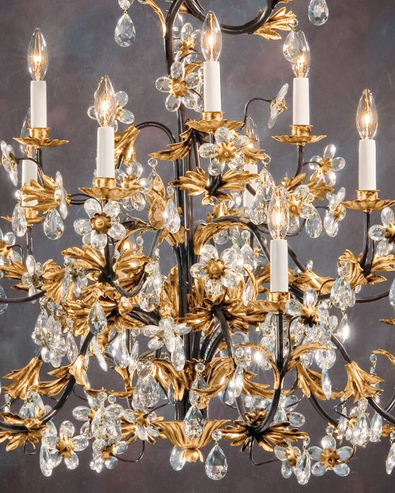 Wrought Iron Chandelier With Italian Glass Flowers Wrought Iron