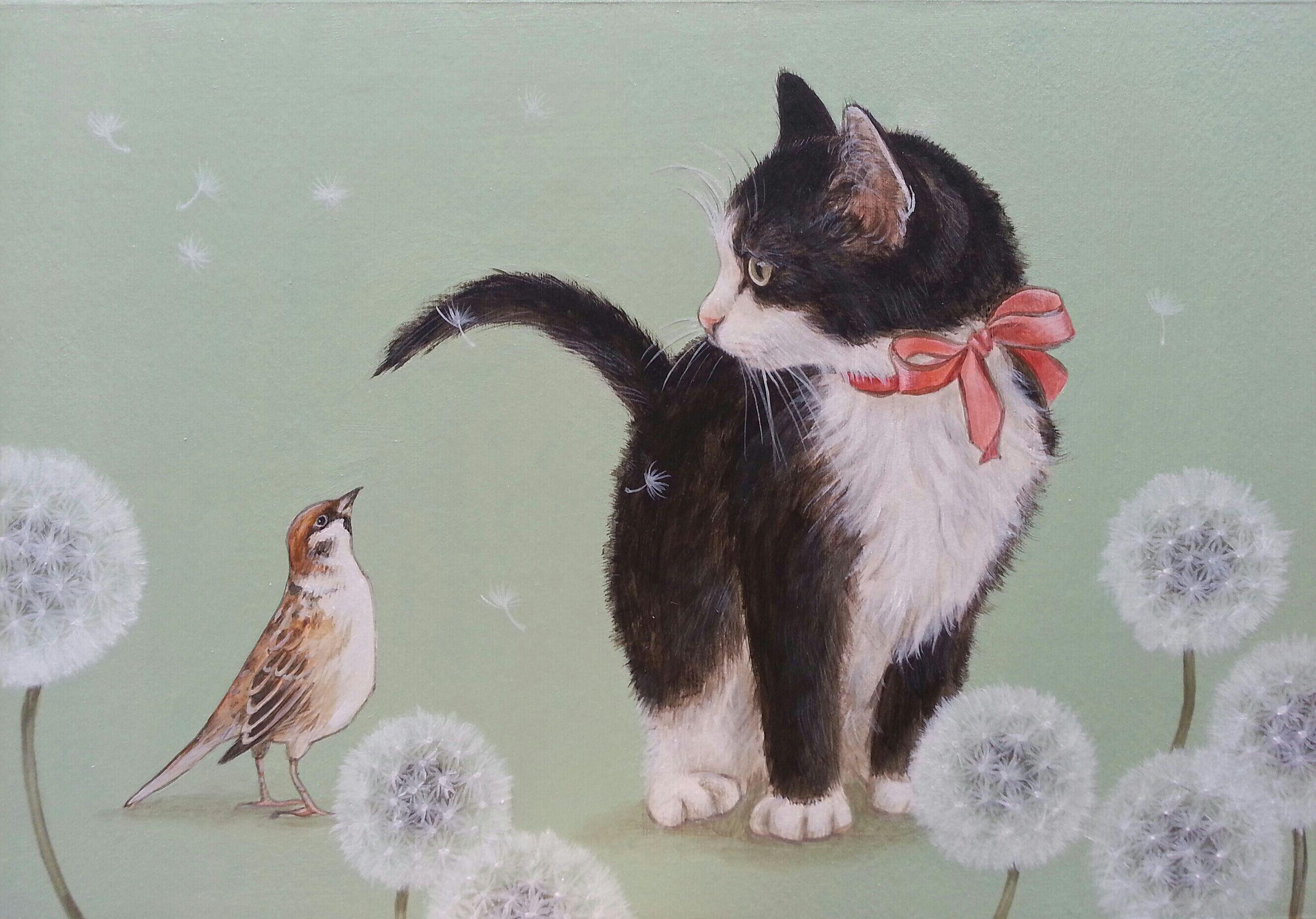 おちょぴ | 猫とすずめ | thisisgallery | 好きなアーティストが見つかるアート