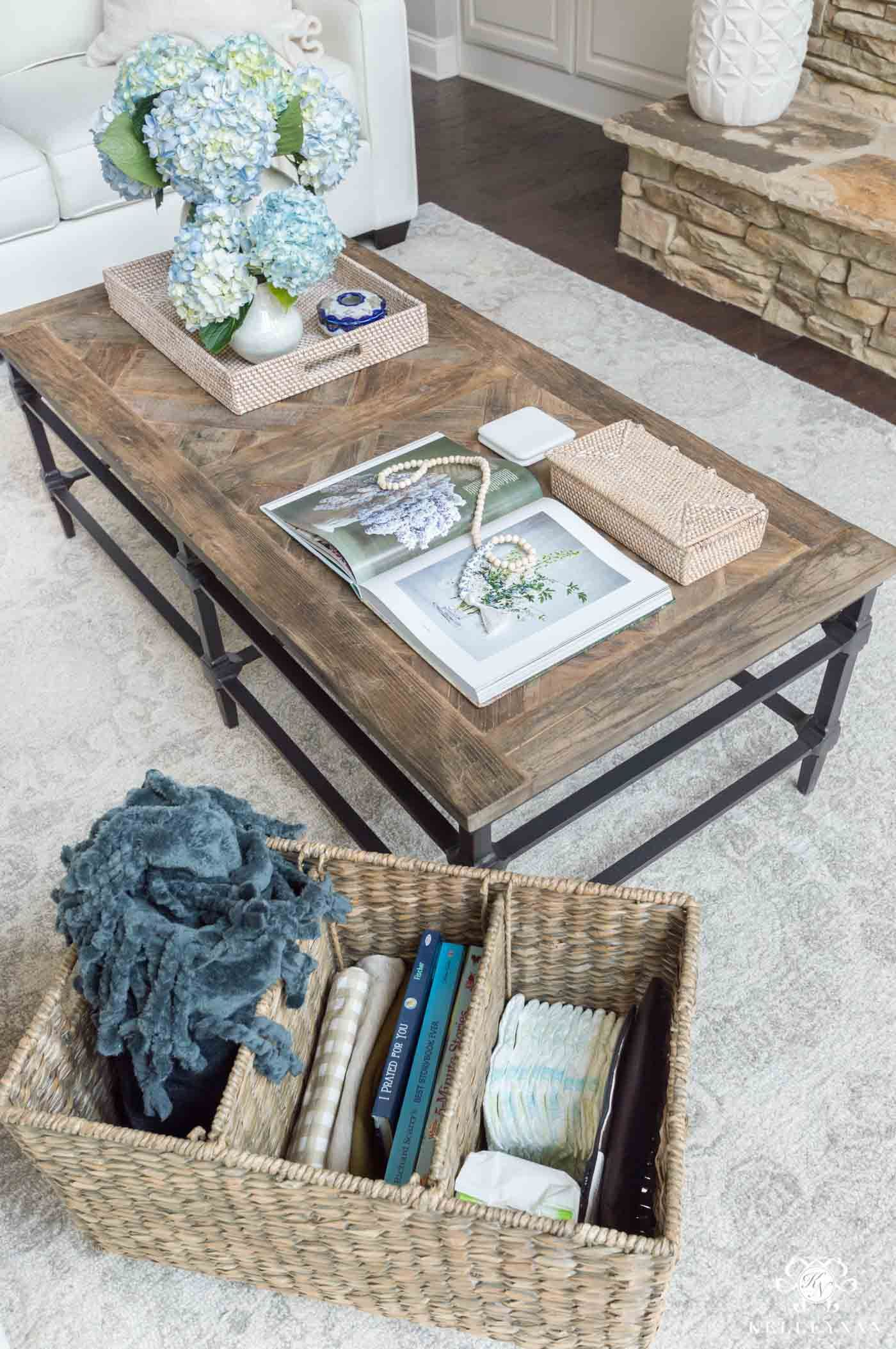 3 Ideas To Conceal Baby Items Toys In The Living Room Kelley Nan Reclaimed Wood Coffee Table Wood Coffee Table Decor Coffee Table Pottery Barn