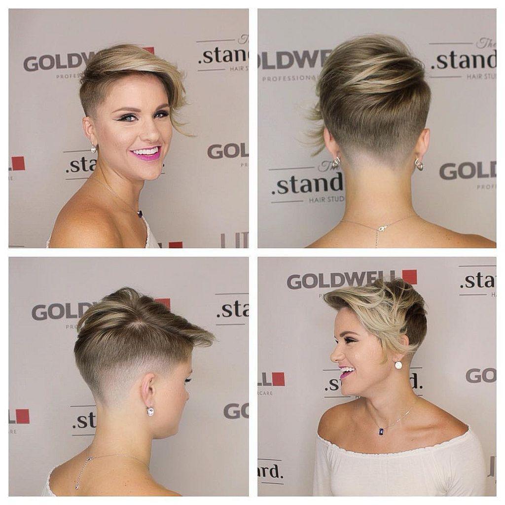 short blond hair, undercut, long bangs, lady fade | short haircuts