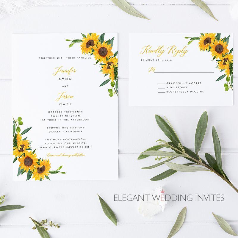 Sunflower Glory Cheap Sunflower Themed Wedding Invitation Cards Ewis003 Themed Wedding Invitations Wedding Invitation Cards Wedding Invitations