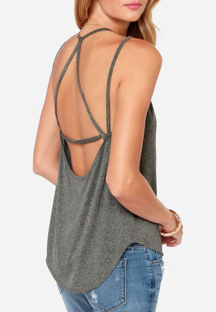 Strappy Gray Tank Top. You can\'t have boobs for a shirt like this ...
