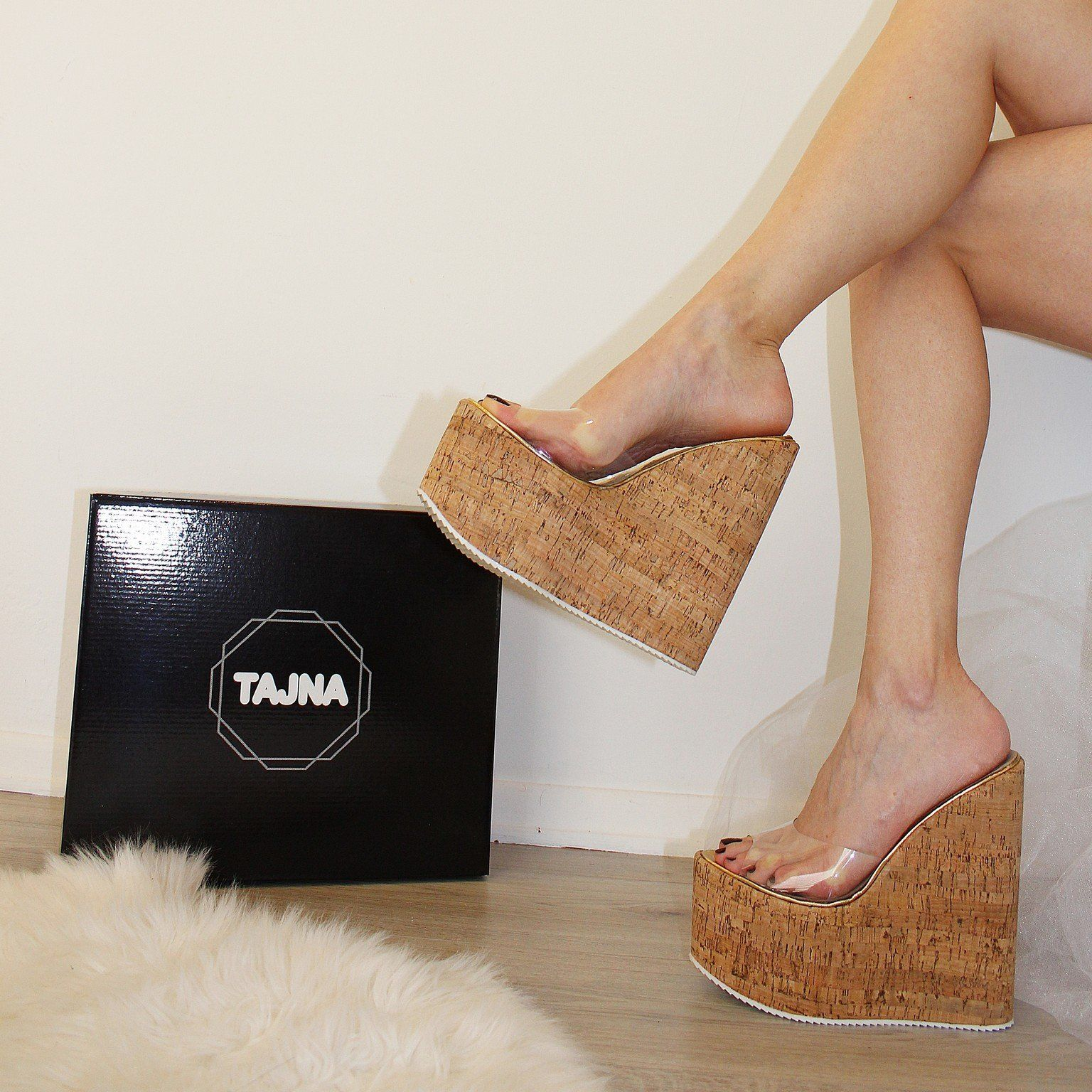 cd7c2527ffe1 Super High Transparent Platform Wedge Mules – Tajna Club