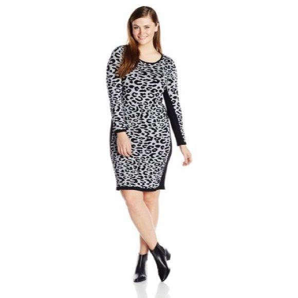 NIB Leopard Bodycon Sweater Dress Beautiful brand-new plus size leopard print sweater dress from Derek Hart Plus- new with tags in original bag, never worn! Derek Heart Dresses Long Sleeve