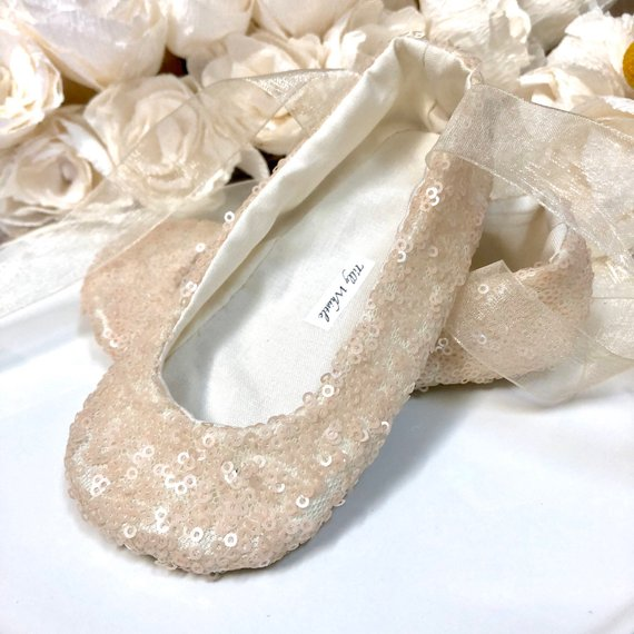 3fae59ffb7b1d Sequin Ballet Slippers, Gold, Ivory, White, Pink, Blush, Rose Gold ...