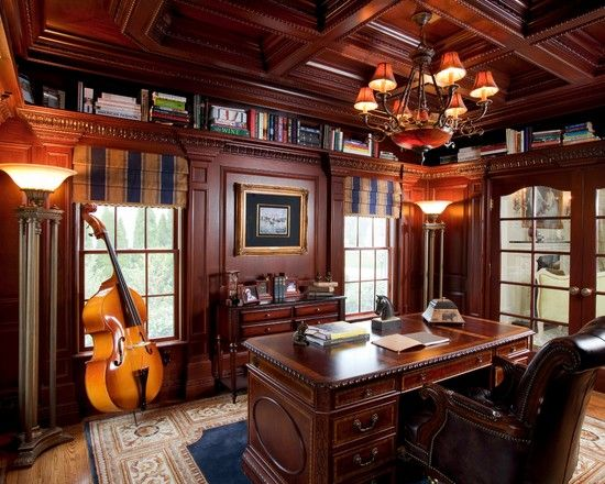 Traditional Home Office Decorating Ideas For Men With Glaring Chandelier  Above Wood Desk And Leather Swivel