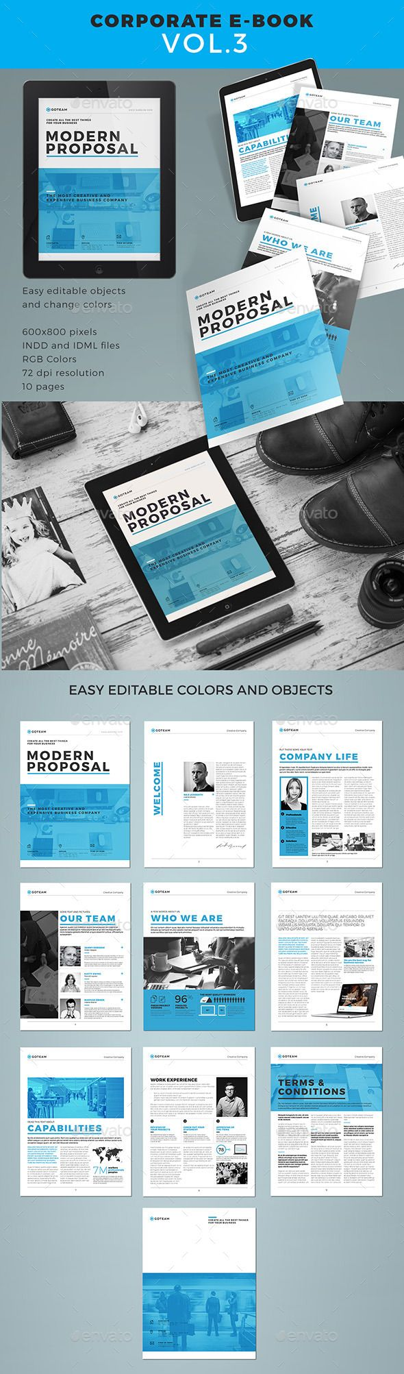 Professional And Clean Corporate E Book Template Design Download