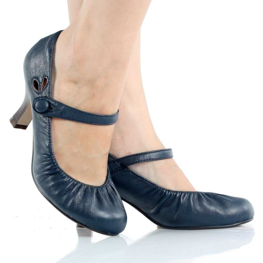 Navy-Blue Mary Jane Pump Kitten Heel Dress Womens Low Mid Heel ...
