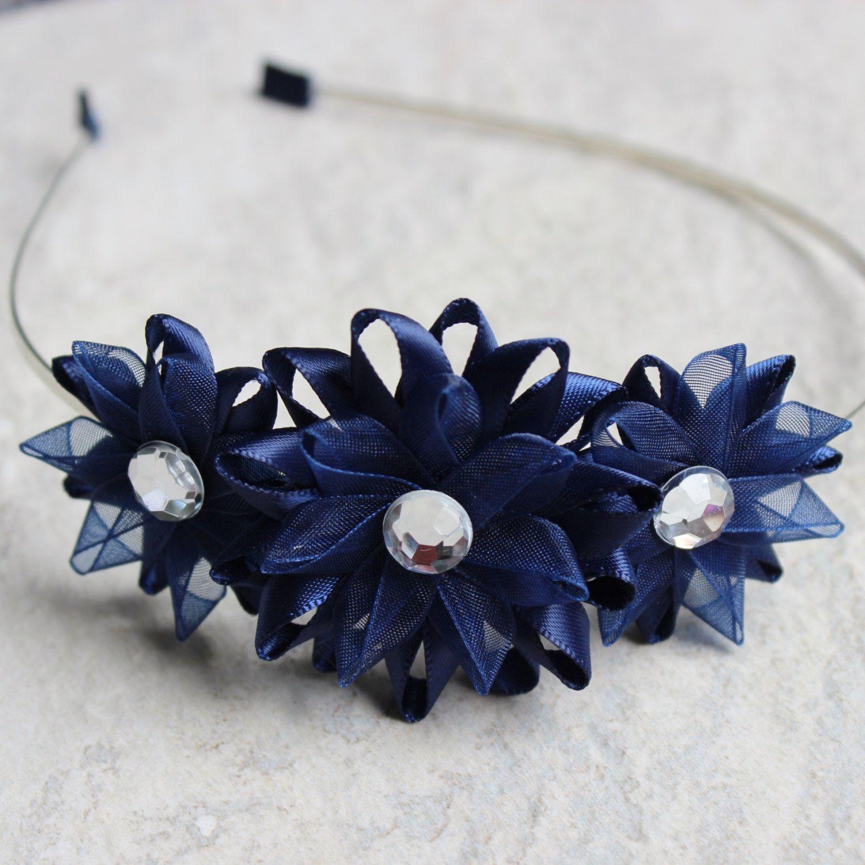 navy blue headband navy blue flower headband navy blue hair