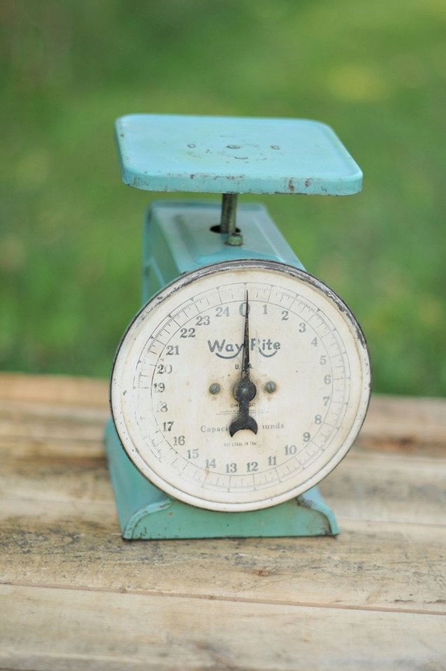 Way Rite Scale in Aqua Green  - Great Photography Prop. $32.00, via Etsy.