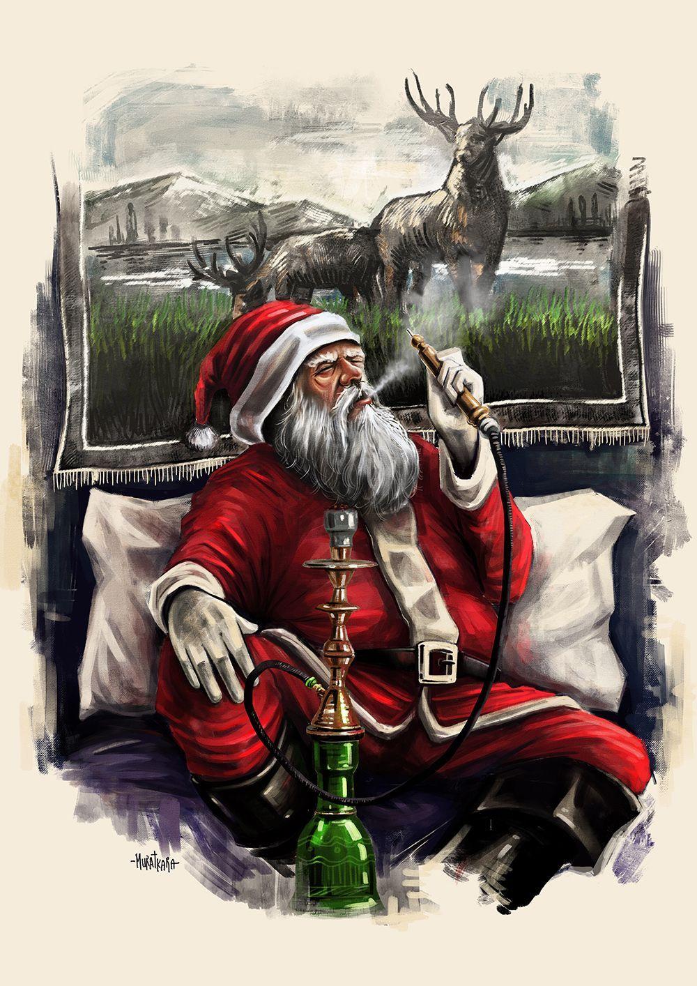 Santa Loves Hookah Narguile Desenho Fumaca De Narguile