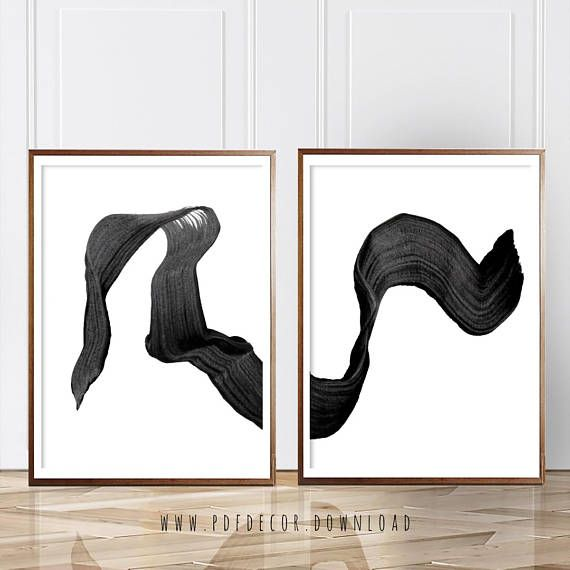 Set of 2 prints brush stroke art set of 2 wall art brush art