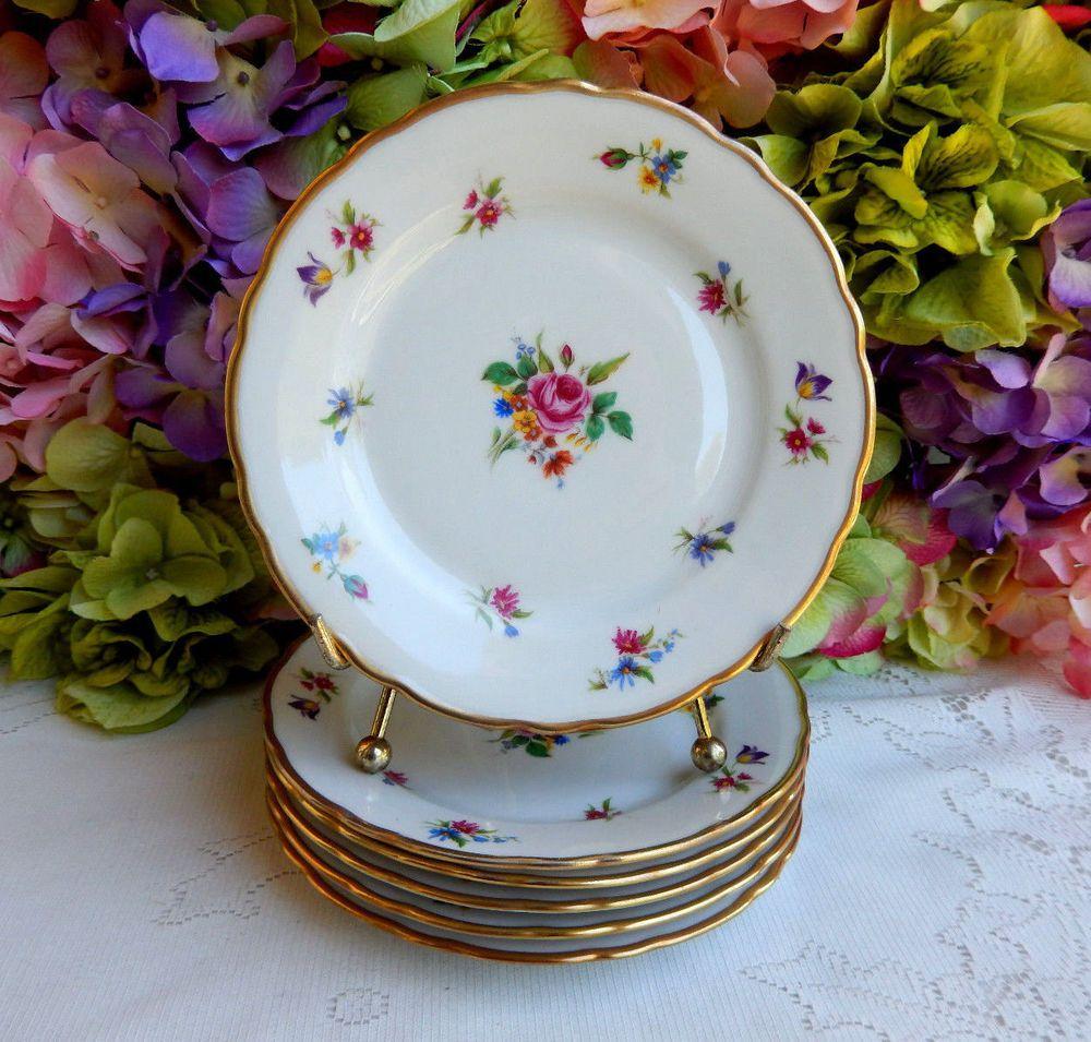 6 Vintage Winterling German Porcelain Bread Plates ~ Meissen Gardens ~ Gold #Winterling