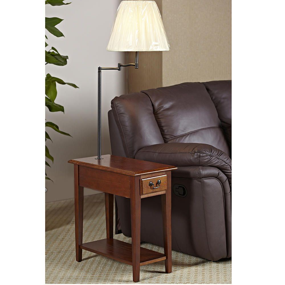 Best Leick Chairside Lamp Table With Drawer Medium Oak Home 400 x 300