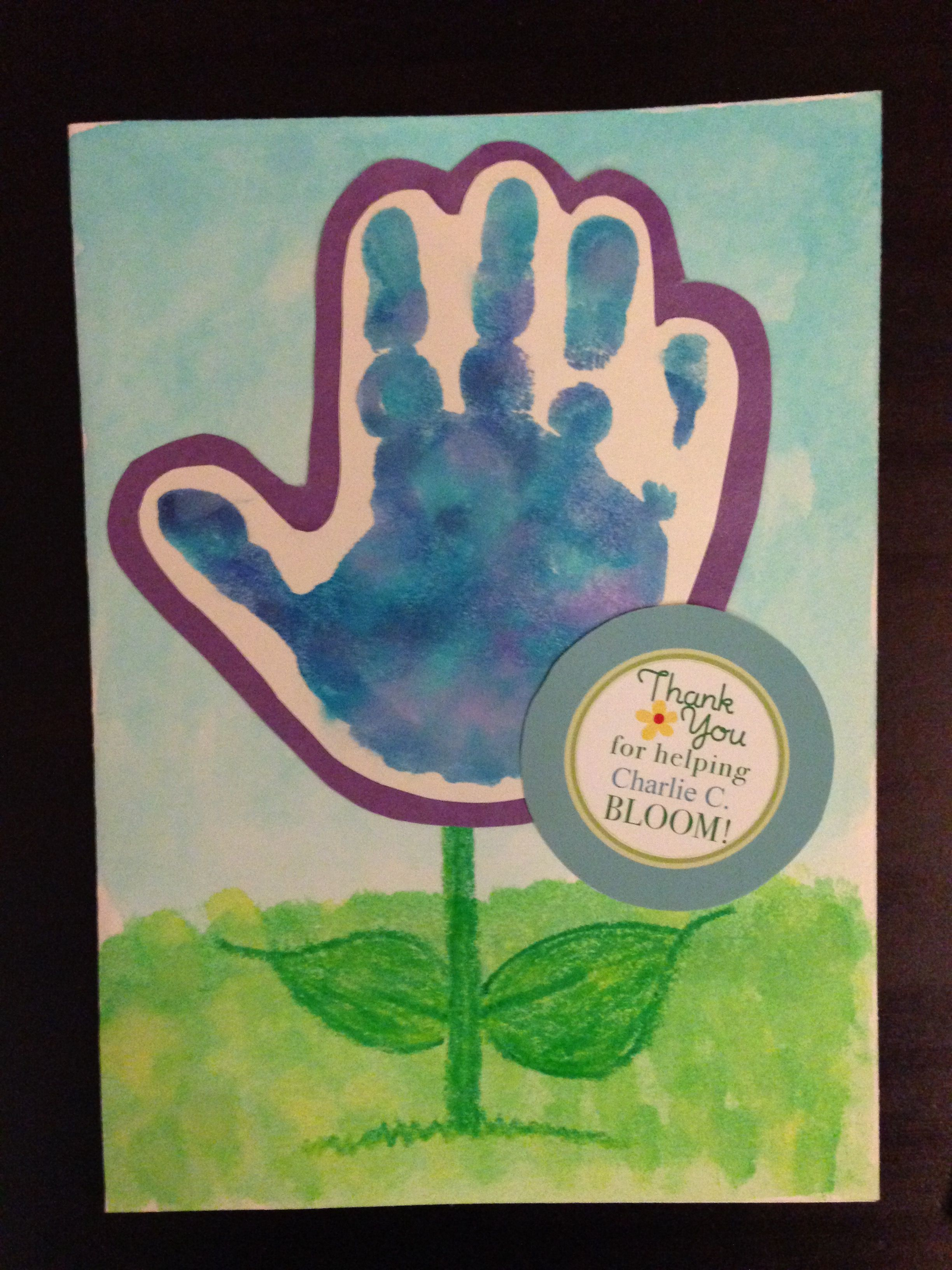 Handprint card thank you for helping me bloom great for