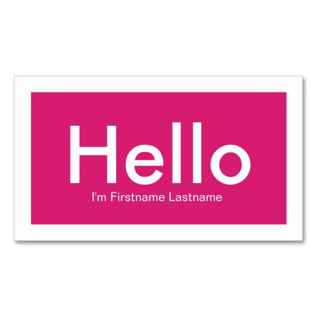 hello personal networking business cards in pink business cards
