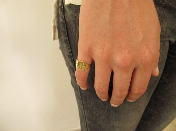Rectangular Monogram Ring Gold Plated Signet Pinky by SheRaJewelry