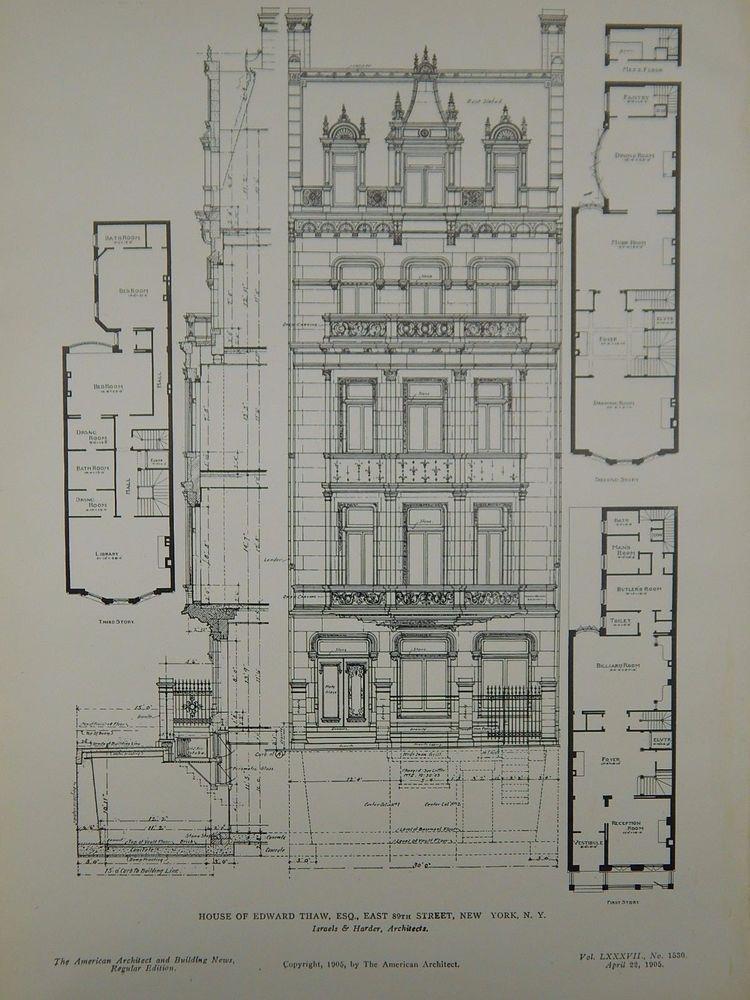 Elevation D Un Plan Archi : Elevation house of edward thaw esq new york ny