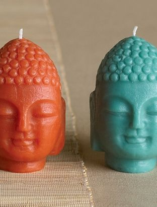 MINI BUDDHA CANDLES  www.blisslivinghome.com  Set of Three $40