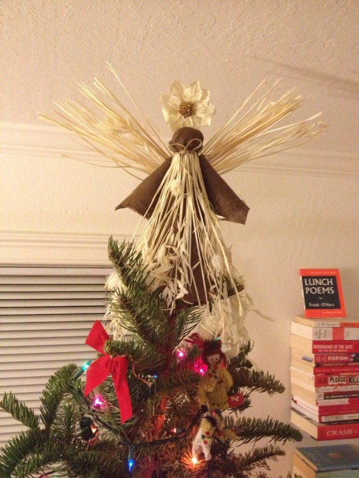 Homemade Christmas Tree Topper Michael S Angel Topper Pack Burlap Synthetic Hay With Flower Homemade Christmas Tree Christmas Crafts Diy Arts And Crafts