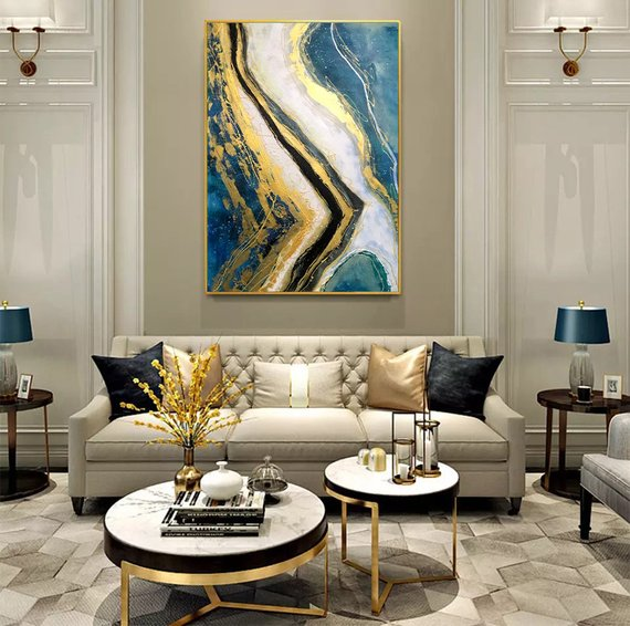 contemporary artwork living room how can i decorate my wall painting on canvas abstract gold art large original modern