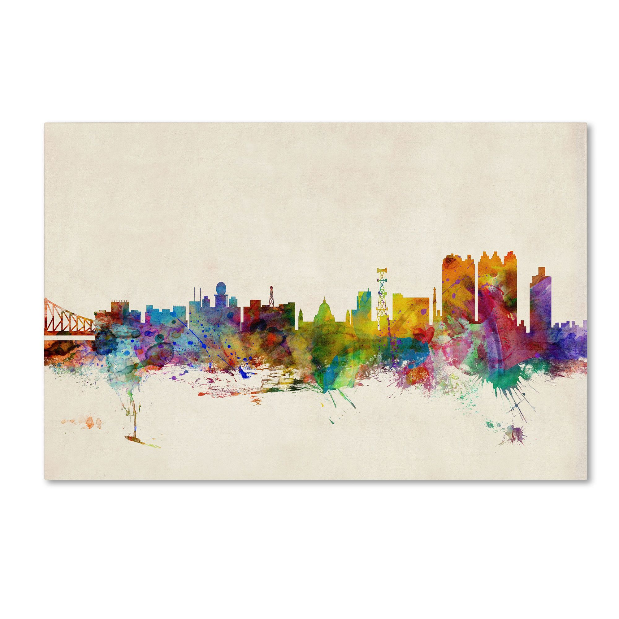 Calcutta watercolor skyline by michael tompsett painting print on calcutta watercolor skyline by michael tompsett painting print on wrapped canvas altavistaventures Image collections