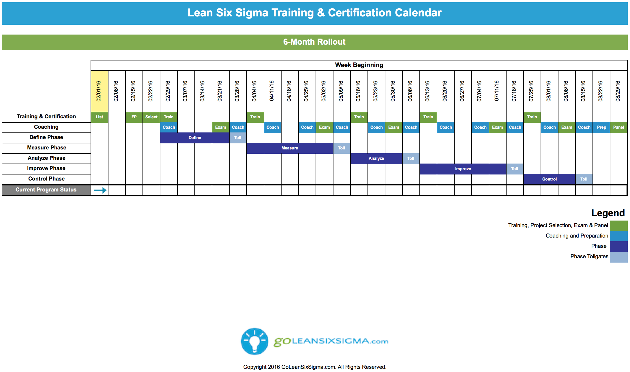 Lean six sigma training certification calendar goleansixsigma lean six sigma rollout calendar this lean six sigma training certification calendar is a customizable rollout schedule for green belts black belts or lea 1betcityfo Images