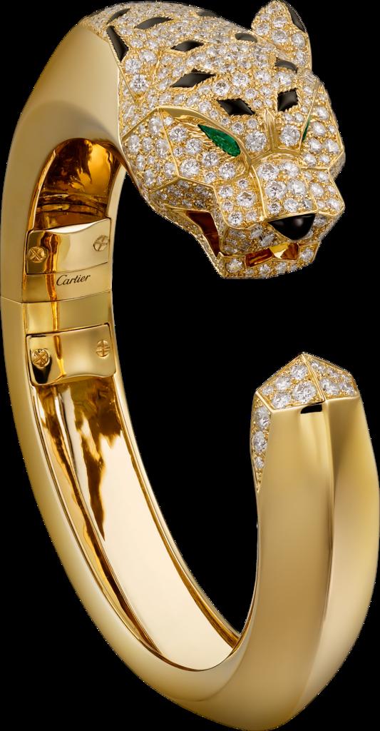 Panthre de Cartier bracelet Yellow gold diamonds emeralds onyx