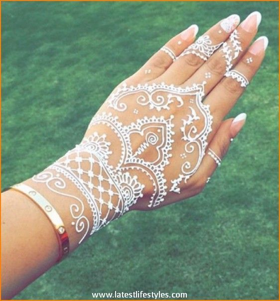 White Wedding Dress With Henna: A French-inspired Mani For Your Wedding Day.