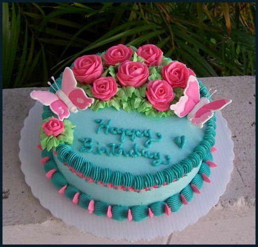 Cake Designs With Whipped Cream : Butterflies and Pink Roses - 8 inch chocolate cake with ...